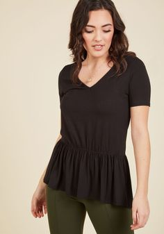That rockin' ensemble you pieced together starring this black top will have others thinking it took all morning to craft, but only you know it was a cinch to achieve! Elevating the basic V-neck tee with pretty peplum, this ModCloth exclusive makes it simple to look particularly polished.