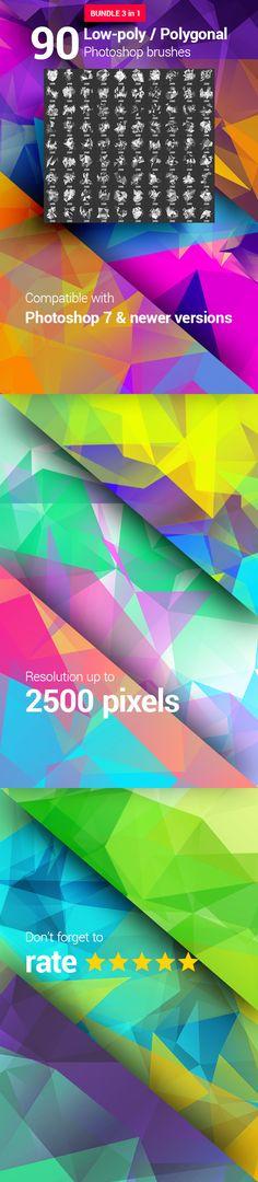 90 LowPoly / Polygonal / Geometrical Photoshop Brushes Bundle  #light #photoshop • Download ➝ https://graphicriver.net/item/90-lowpoly-polygonal-geometrical-photoshop-brushes-bundle/18284713?ref=pxcr