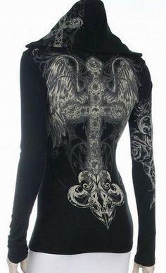 $41.99 Amazon.com: Fashion Forever Angel Wings Black Cross 1077 Tattoo Hoodie Top T-Shirt Junior Black: Clothing