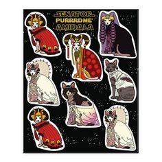 A long time ago in a galaxy far, far, away, a bunch of hairless cats dressed up like Senator Padme' Naberrie Amidala Skywalker of Naboo. Show your love for Queen Amidala's dresses along with your love of sphinx cats with these funny cat stickers. These stickers are perfect for sci fi nerds and cat people alike.