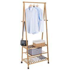 Allieroo Bamboo Garment Coat Hanging Rack Shoe Clothes Storage Shelves 3-tier 4 Coat Hooks