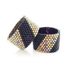 Beaded Black Ring with Gold Geometric Stripe for por JeannieRichard