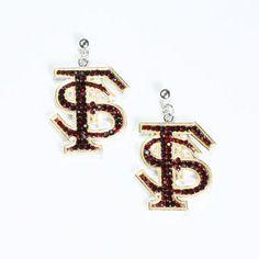 Florida State Crystal Logo Earrings