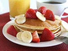 Another delicious favorite- banana strawberry pancakes with OJ.  Great for the most important meal of the day.