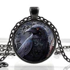 Black Raven Edgar Allan Poe Nevermore Evil Black Bird Ominous Glass Photo Pendant Silver Necklace Jewelry by ChicBridalBoutique on Opensky