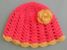 Crochet - Crosia Free Patttern with Video Tutorials: Baby Frock Crochet Toddler Dress, Crochet Dress Girl, Crochet Baby, Free Crochet, Easy Stitch, V Stitch, Baby Sun Hat, Baby Hats, Double Crochet