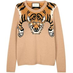 Gucci Tiger-intarsia wool jumper (£525) ❤ liked on Polyvore featuring tops, sweaters, gucci, gucci tops, wool jumpers, gucci jumper and woolen jumper