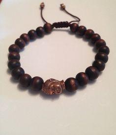 Men's Wooden Copper Buddha Bracelet on Etsy, $20.00
