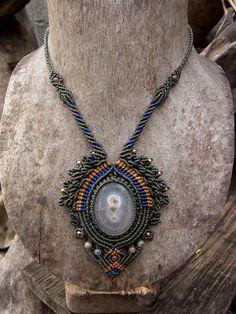 Macrame Necklace Pendant Solar Quartz Stone Waxed Cord Handmade Handcrafted #Handmade #Pendant