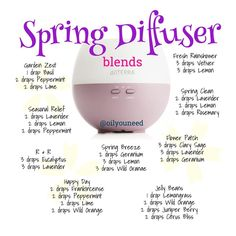 Spring Diffuser Blends FREE Delivery on all UK Orders 10% Discount on all Orders in June Enter Discount code EB17 at checkout www.essentialoilproducts.co.uk