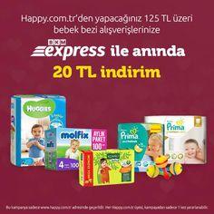 Bu Fırsat Kaçmaz! Happy.com.tr'den yapacağınız 125 TL üzeri bebek bezi alışverişlerinize BKM Express ile anında 20 TL indirim (Y) Sipariş vermek için hemen tıklayınız, >> http://www.happy.com.tr/bebek_bezi_alt_acma