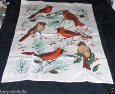 Kay Dee Designs Linen Tea Towel Ruby Red Cardinal Birds on Pine Cone Branches on eBay.