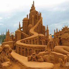How cool! A Little Mermaid sand castle