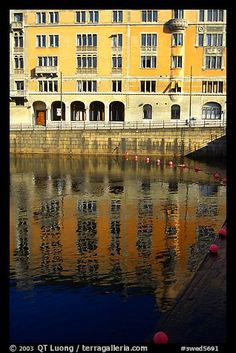 Reflexions of buildings on Riddarfjarden. Stockholm, Sweden