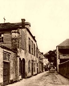 Historic St. Augustine, Florida ~ Historic St. George Street in St. Augustine, Florida, photo by Frances Benjamin Johnston, about 1936