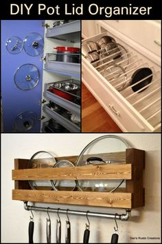 Want to keep your pot lids organized and accessible? Then this solution is for you! Pot Lid Storage, Pot Lid Organization, Lid Organizer, Home Organisation, Pantry Storage, Closet Storage, Kitchen Organization, Kitchen Storage, Kitchen Decor