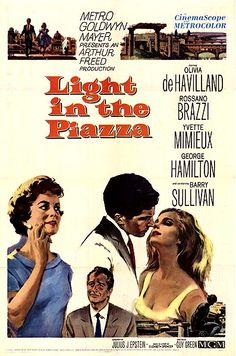 Light in the Piazza is a 1962 American romantic drama film directed by Guy Green and starring Olivia de Havilland, Rossano Brazzi, Yvette Mimieux, George Hamilton, and Barry Sullivan. Movie Photo, I Movie, Movie Stars, Old Movies, Vintage Movies, Yvette Mimieux, George Hamilton, Little Dorrit, Olivia De Havilland