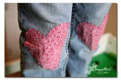 patched jeans - great to do with my fav jeans that have frayed at the knees