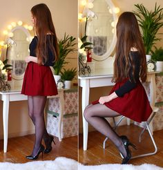 I want her clothes, vanity, and rug. Red Skirts, Mini Skirts, Fashion Tights, Fashion Outfits, Pretty Dresses, Sexy Dresses, Swag Girl Style, Bollywood Outfits, Nylons And Pantyhose