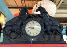 """Vintage Horse Clock   Dealer #1105  Works  12"""" High x 17"""" Wide   $35  Lucas Street Antiques Mall 2023 Lucas Dr.  Dallas, TX 75219  Located close to Dallas' Design District within walking"""