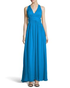 Chiffon Halter Gown with Side Cutouts  by Aidan Mattox at Neiman Marcus.