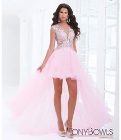 Tony Bowls 2014 Prom Dresses - Pink Rhinestone Cap Sleeve Open Back Tulle High-Low Gown - Unique Vintage - Prom dresses, retro dresses, retro swimsuits.