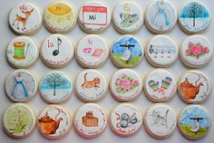 Painted Sound of Music Cookies by Arty McGoo Cookies For Kids, Fancy Cookies, Cute Cookies, Royal Icing Cookies, Sugar Cookies, Music Cookies, Paint Cookies, Painted Cakes, Cookie Designs