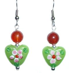 Green & Red Jade Christmas Heart With Flowers Earring Set (silver-plated-base)