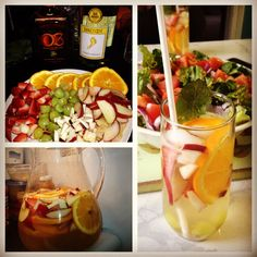 My take on homemade white wine sangria! -by Shreya  1.5 liter Pinot Grigio or Sovereign Blanc, 1/2 cup Orange liqueur, 1 cup simple syrup (boiled sugar water), peaches, orange, apple, strawberries, grapes. Mix everything together, refrigerate for at least 2 hours, serve over ice and garnish w/ fresh mint. Makes for a perfect spring/summer drink!