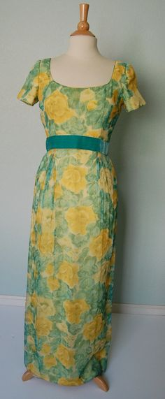 1960s I Magnin & Co Silk Chiffon Gown - Bright Floral Print - Turquoise and Yellow - Medium - Back Detail. $140.00, via Etsy.