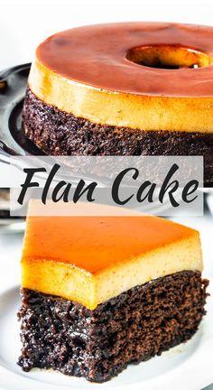 Flan Cake. Chocolate Cake on the bottom, and Caramel Flan on top #caramel #cake #bundtcake #chocolatecake #pudim #pudimcake #flan #caramelflan