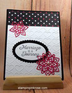 Stampin' Up! CAS wedding card made with Flourishing Phrases stamp set and designed by Demo Pamela Sadler. See more cards at stampinkrose.com #stampinkpinkrose