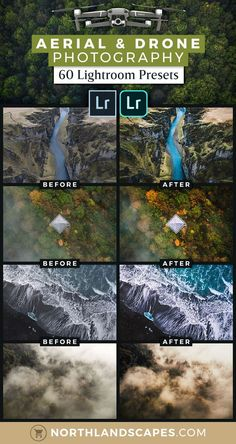 60 Lightroom Presets for Drone and Aerial Photography. 60 Lightroom presets specially developed for the needs of aerial landscape photography, taken from a plane or helicopter or with drones like the DJI Mavic 2 Zoom/Pro, Mavic Pro, Mavic Air or Phantom