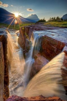 Beautiful Picture Of Waterfalls And Sunset