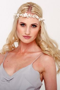 A fresh take on the popular flower crown, the Daisy bridal halo is made of handmade flowers and beautiful clusters of freshwater pearls and Swarovski crystals. Popular Flowers, Flower Crown Wedding, Bridal Hair Vine, Wedding Hair Accessories, Bridal Headpieces, Hair Accessory, Handmade Flowers, Irene, Hair Pins
