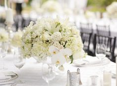 White centerpiece (Floral Design: Commerce Flowers) - Classic Pacific Palisades Wedding by Desi Baytan Photography