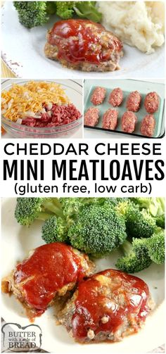 Cheddar Meatloaves made with just 6 common ingredients in under an hour! Mini Meatloaf is so easy to make- just shape and top with our special 3 ingredient sauce and bake. This meatloaf recipe is gluten free, low in carbs and absolutely delicious! Easy Gluten Free Desserts, Gluten Free Recipes For Dinner, Gf Recipes, Italian Recipes, Dinner Recipes, Cooking Recipes, Healthy Recipes, Amish Recipes, Gluten Free Recipes Low Calorie