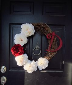 DIY door wreath... I like this look for Valentine's and then I can switch out the red for another color to use during Spring.
