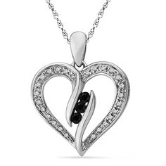 Zales black and white collection | CT. T.W. Enhanced Black and White Diamond Heart Pendant in ...