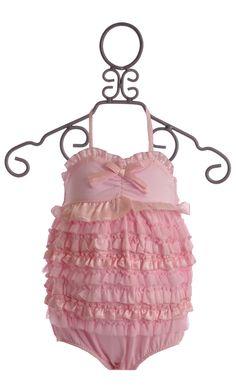 Kate Mack Dipped In Ruffles Baby Romper Pink $36.00