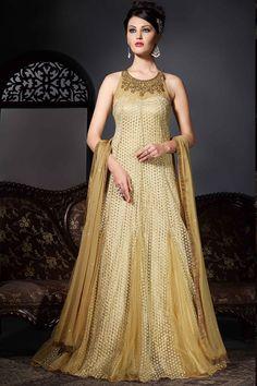 Appealing Beige Color Net Party Wear Gown