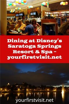 Disney Vacation Club (DVC): Disney's Saratoga Springs - click thru for details about available dining from yourfirstvisit.net | #DVC #DisneyVacationClub #DisneysSaratogaSprings #DisneyWorldDining Saratoga Springs Disney, Saratoga Springs Resort, Springs Resort And Spa, Disney World Deals, Disney World Restaurants, Disney World Planning, Disney Vacation Club, Walt Disney World Vacations, Dining At Disney World