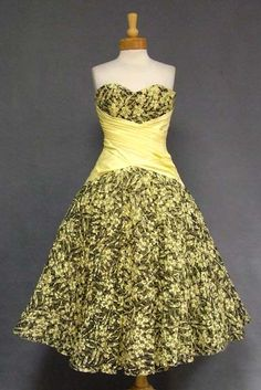 Black & Yellow Ribbon Tulle 1950s Cocktail Dress