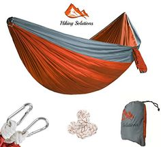 Camping Hammock Portable Single and Double Outdoor Parachute Nylon Hammock With Heavy Duty Hanging Ropes  Carabiners For Backpacking Camping Travel Outdoor Indoor and Hiking ** You can get additional details at the image link.