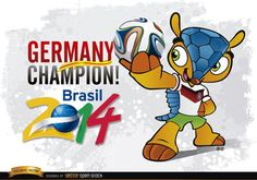 """This vector features the Brazil 2014 Mascot """"Fuleco"""" wearing the German Team T-Shirt. Under Creative Commons 4.0 Attribution license. High Quality JPG included."""