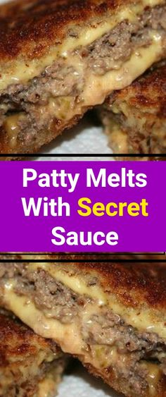 Patty Melts With Secret Sauce WHAT YOU NEED (INGREDIENTS) pounds ground beef 2 teaspoons Worcestershire sauce 1 teaspoon kosher salt ½ teaspoon ground black pepper 12 slices sourdough bread ½ cup Secret Sauce 3 medium Vidalia onions, thinly sliced 6 sli Meat Recipes, Cooking Recipes, Sandwich Recipes, Dinner Recipes, Picnic Recipes, Vegan Sandwiches, Salmon Recipes, Potato Recipes, Beef Dishes