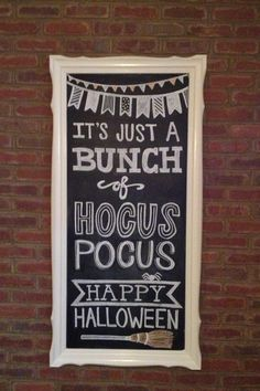 Decoration Simple Brick Wall Mounted Black Chalkboard With White Wooden Stained Frame Happy Halloween Sign Gorgeous Chalkboard For Halloween Party Decor Ideas