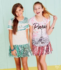 Calling all glitter-loving shimmer seekers who can't get enough shine.these are the styles that let your inner sparkle show! Preteen Fashion, Kids Fashion, Fashion Outfits, Ashley Clothes, Girls Sports Clothes, Tween Mode, Sparkly Skirt, Justice Clothing, Tween Clothing
