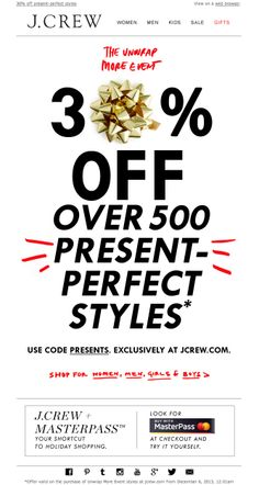 #newsletter J.Crew 12.2013 The Unwrap More Event is here @Jenille Reese Reese Reese Reese Reese Boston