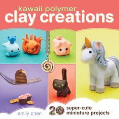 Learn to make super-cute polymer clay animals and food in Kawaii Polymer ClayCreations!    Emily Chen teaches you how to craft twenty adorable figures from basic shapesusing easy polymer clay techniques and tools. Progress from a simple bunny toan elaborate unicorn, and learn now to make miniature cookies, bread and icecream cones that look delicious enough to eat! Included are basic jewelrytechniques for transforming your polymer clay masterpieces into wearableitems. Try turning a cat into… Easy Polymer Clay, Polymer Clay Disney, Polymer Clay Animals, Polymer Clay Creations, Polymer Clay Cupcake, Clay Crafts For Kids, Christmas Crafts For Kids To Make, Crafts To Do, Resin Crafts